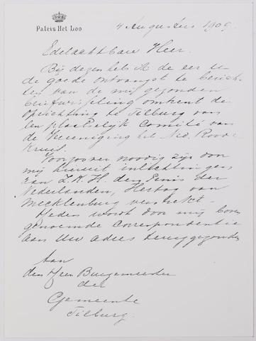 042327 - Brief.Brief van het sectretariaat van het Koninklijk Huis aan de Tilburgse burgemeester aangaande de oprichting van een plaatselijk comité van het Nederlandse Rode Kruis in Tilburg