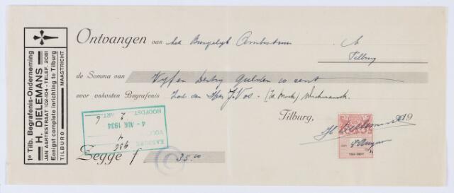 059913 - Briefhoofd. Nota van 1e Tilb. Begrafenis-Onderneming H. Dielemans, Jan Aartestraat 102-104 voor de gemeente Tilburg