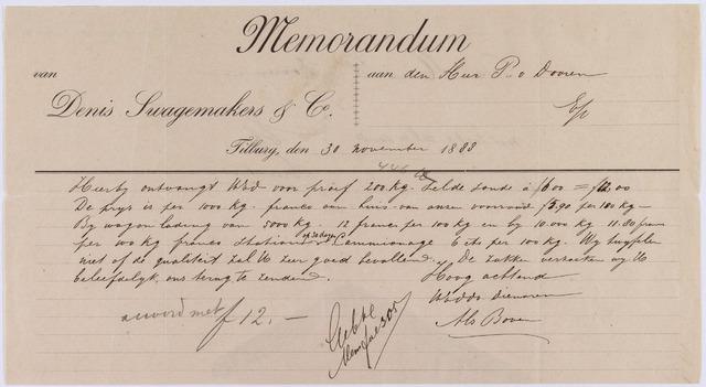 061202 - Briefhoofd. Memorandum van Denis Swagemakers & Co aan P. van Dooren