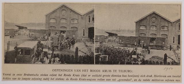 042334 - Grootscheepse oefening van de Tilburgse afdeling van het Rode Kruis nabij het station in 1914