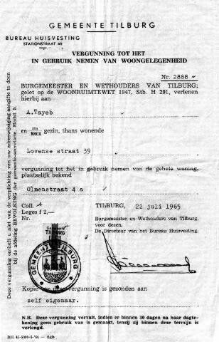 055003 - Migranten. Gastarbeiders. Marokkanen. Vergunning voor huisvesting voor een woning aan de Olmenstraat aan A. (Hamed) Tayeb.