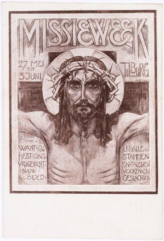 008626 - Van 27 mei t/m 23 juni 1923 werd de eerste Tilburgse missieweek georganiseerd in het gebouw van Rooms Katholieke Werkliedenvereniging aan de TuinstraatDe entree voor de kinderen was gratis maar ze werden wel verzocht een zilverstukje als offertje mee te brengen.
