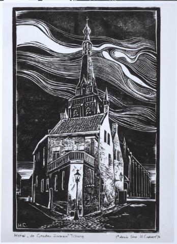 """027809 - Hotel """"De Gouden Zwaan"""". Lino door H. Corvers 1976. Linosnede"""