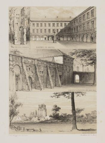 100889 - Litho. Litho voorstellende de ruine van Huize Ten Strijen, het kasteel van Breda en gezicht op Oosterhout
