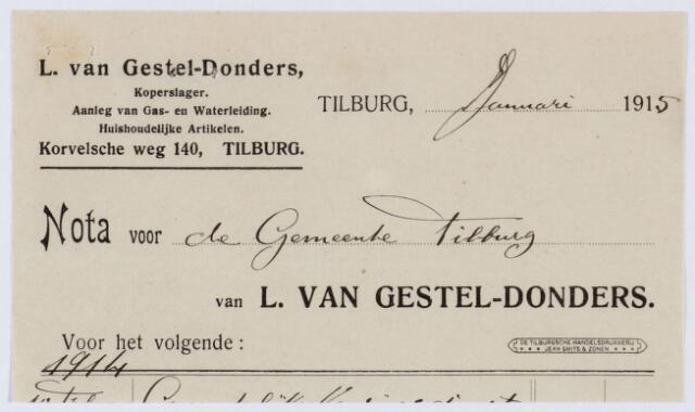 060143 - Briefhoofd. Nota van L. van Gestel-Donders, koperslager, Korvelsche weg 140, voor de gemeente Tilburg