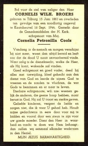 604362 - Tweede Wereldoorlog. Oorlogsslachtoffers. Bidprentje ter nagedachtenis s aan Cornelis W. Broers, om het leven gekomen tijdens een beschieting op de Loonseweg te Tilburg.