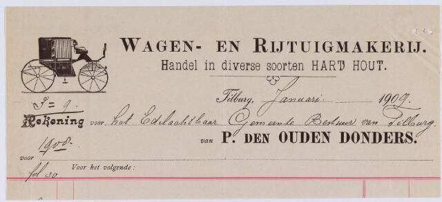 060867 - Briefhoofd. Nota van P. den Ouden Donders, rijtuig- en wagenfabriek, Noordstraat voor de gemeente Tilburg