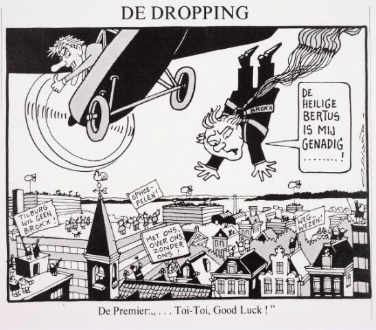 036323 - Tekening. Spotprent in de Volkskrant van 19 april 1988 over burgemeester Brokx van Tilburg