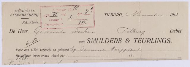 061140 - Briefhoofd. Nota van Smulders & Teurlings, machinale steenbakkerij voor de gemeente Tilburg