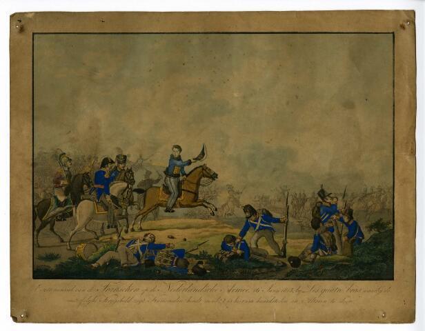 """604195 - Koningshuis. Eerste aanval van het Franse leger op het Nederlandse leger  op 16 juni 1815 bij Les Quatre Bras. Hierbij riep  de """"onsterfelijke krijgsheld"""" (Willem II); Kameraden, houdt moed! ´t Is hier om haardsteden en altaren te doen! Prins Willem II, de latere koning is in het midden van de prent op zijn paard afgebeeld."""