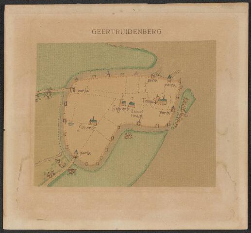 651031 - Plattegrond van de stad Geertruidenberg voornaamste gebouwen en stadspoorten weergevend.  2e kwart 20e eeuw. Kleurendruk naar kaart van Jacob van Deventer eind 16e eeuw.. 11,5 x 13 cm.