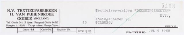 056270 - Briefhoofd. Briefhoofd N.V. Textielfabrieken H. van Puijenbroek, Goirle.