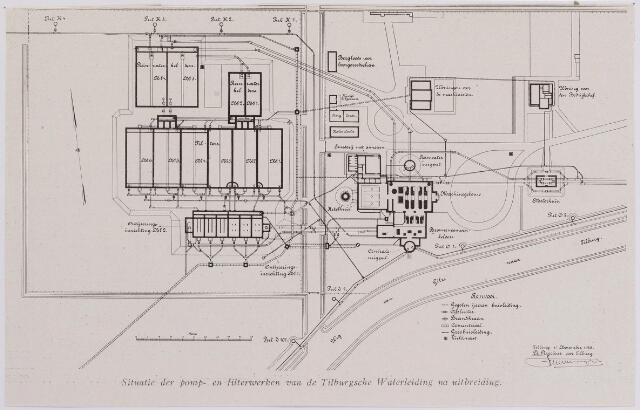 042216 - Waterleiding. Situatietekening van het pomp- en filterstation van de Tilburgse Waterleidingmaatschappij aan de Gilzerbaan