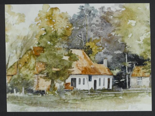 072193 - Aquarel. Achterzijde boerderij de Rook op Rovert onder Hilvarenbeek.