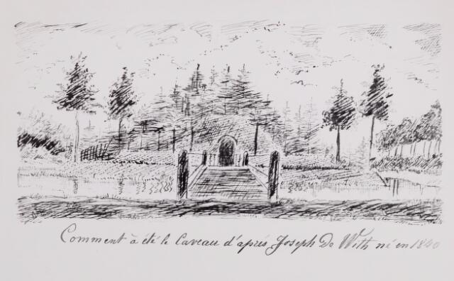 046538 - Tekening. Tekening van De Meester de Betzenbroeck van  de brug naar de grafkelder van de familie Van Hogendorp op Nieuwkerk. Hij tekende een toen niet meer bestaande toestand, die werd beschreven door Joseph de With, geboren in 1840. De grafkelder werd gebouwd in 1823 op last van graaf Johan D.Fr. van Hogendorp. De volgende personen werden er begraven: Johan Diederik Francois, graaf van Hogendorp (1839), Gijsbert Jacob, graaf van Hogendorp (1845) en Maria Johanna van der Sleijden, de tweede vrouw van voornoemde Johan D.Fr. van Hogendorp (1853). In 1861 werd de grafkelder geruimd. De stoffelijke resten werden in Dordrecht herbegraven.