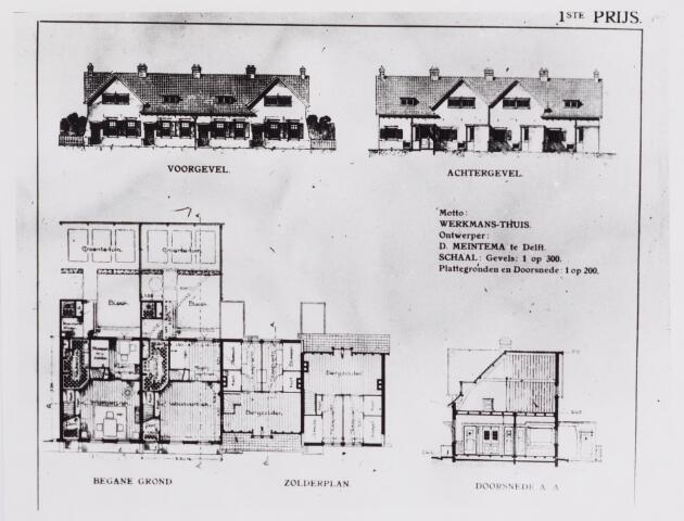 042174 - Volkshuisvesting en zedelijkheid Tekening. Volkshuisvesting. Ontwerp van D. Meintema uit Delft naar aanleiding van een internationaal woningcongres in 1913, gehouden te Scheveningen.
