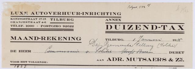 060775 - Briefhoofd. Nota van Luxe Autoverhuur-inrichting annex Duizend-tax,  Adr. Mutsaers & Zn, Koningstraat 17-15 en Oranjestraat 4-6 voor de gemeente Tilburg