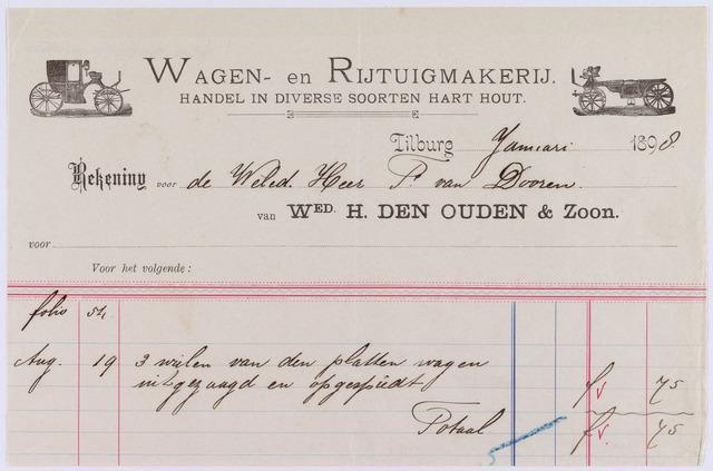 060864 - Briefhoofd. Nota van Wed. H. dan Ouden & Zoon, wagen- en rijtuigmakerij, voor de heer P. van Dooren