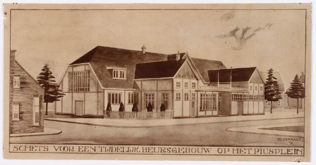 028578 - Tekening. Schets voor een beursgebouw op het Piusplein