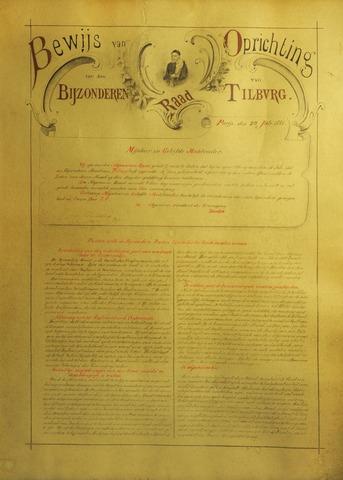 """604544 - """"Bewijs van oprichting van den Bijzonderen Raad van Tilburg"""", zo luidt de titel van deze oorkonde die werd opgesteld op 20 juli 1881 te Parijs. Deze oorkonde is het bewijs van oprichting van de bijzondere Raad van Tilburg van de St. Vincentiusvereniging. De algemeen president van deze vereniging was de heer Baudon."""