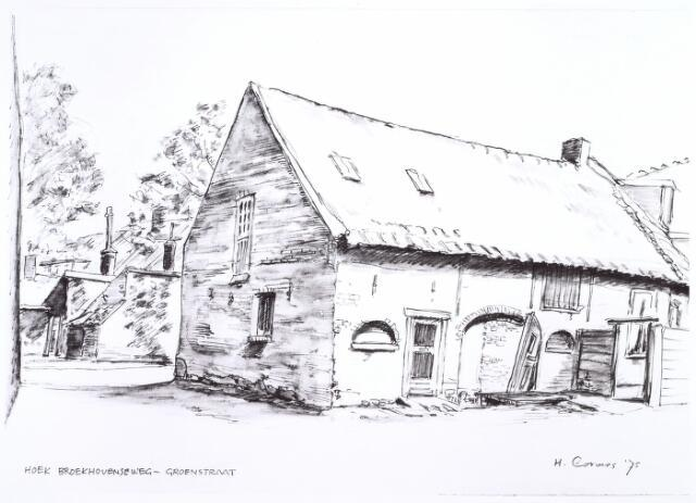 016681 - Tekening. Tekening van H. Corvers uit 1975 van een gebouwtje op de hoek Broekhovenseweg - Groenstraat