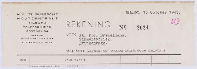 061238 - Briefhoofd. Nota van N.V. Tilburgsche Houtcentrale voor Firma F.J. Brekelmans Timmerfabriek te Princenhage