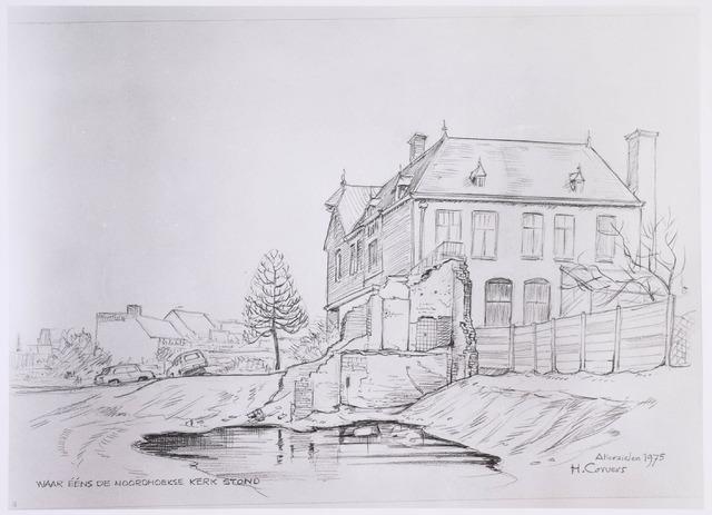 020128 - Tekening. Tekening van H. Corvers uit 1975 kort na de sloop van de Noordhoekse kerk