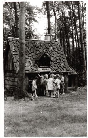 046384 - Medisch kinderdagverblijf Kleuterheil. Kleuters bij het peperkoekhuisje in het bos.