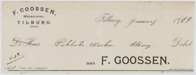 060172 - Briefhoofd. Nota van F. Goossen, mécaniciën, voor Publieke werken Tilburg