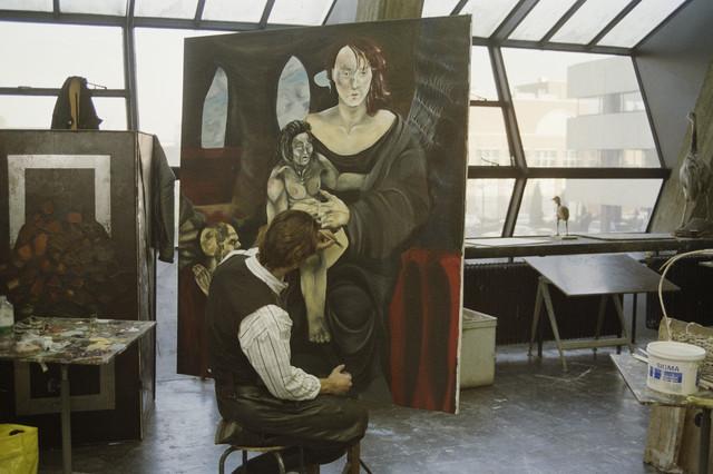 TLB023000020_004 - Kunstonderwijs. Interieur Kunstacademie afd. beeldende kunst. Atelier schilderkunst.