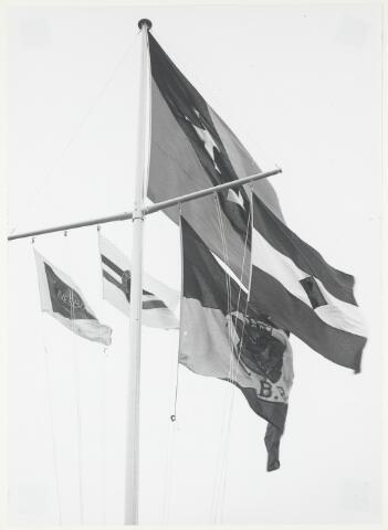 91667 - Made en Drimmelen. Vlaggen aan de vlaggenmast tijden de officiële opening van Jachthaven De Biesbosch. In het midden (met ambtsketen)