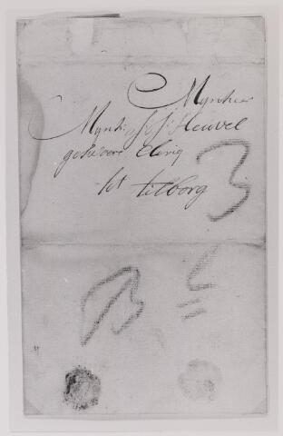 041633 - Postbrieven. Enevlop van een brief van Zaltbommel gericht aan J.J. Heuvel, klerk te Tilburg.