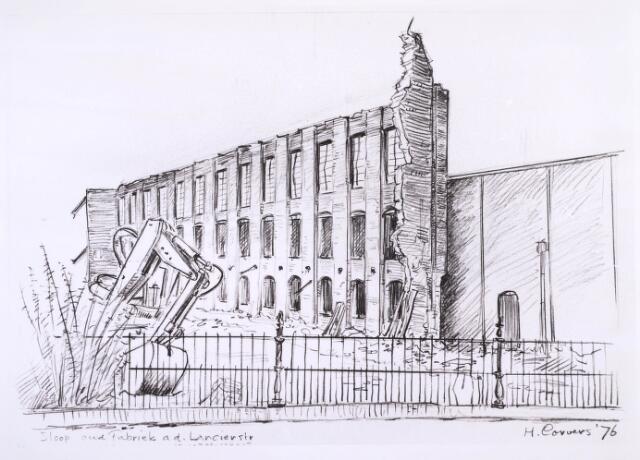 023289 - Tekening. Textiel. Tekening van H. Corvers van de sloop van een textielfabriek aan de St. Josephstraat
