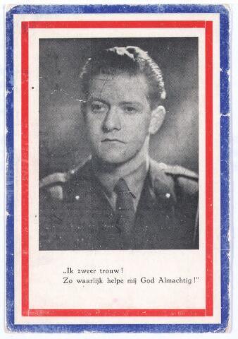 007255 - Bidprentje. Oorlogsslachtoffer. Marius Klompenhouwer geboren te Mol 3 december 1925 gesneuveld te Tjandiwates (Oost Java). Hij was toen woonachtig in Tilburg.