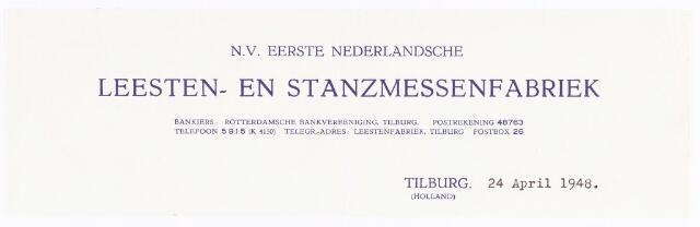 060588 - Briefhoofd. Briefhoofd van N.V. Eerste Nederlandsche Leesten- en Stanzmessenfabriek,