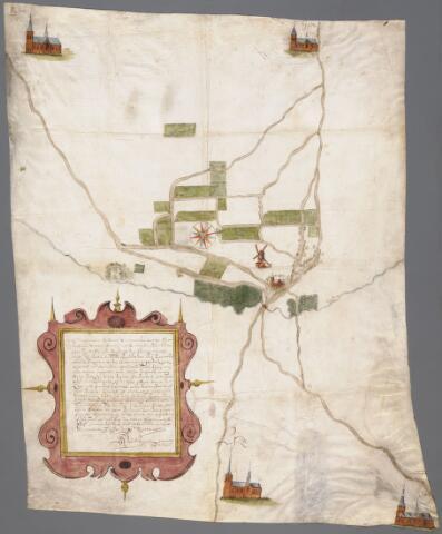 066000 - Kaart. Manuscriptkaart vervaardigd door Roelof van der Vleuten, notaris en landmeter van Riel en omgeving. Op de kaart de kerk en molen van Riel, de kerk van Goirle, de oudste kerk van Tilburg, de kerk van Alphen en de kerk van Gilze. 1657