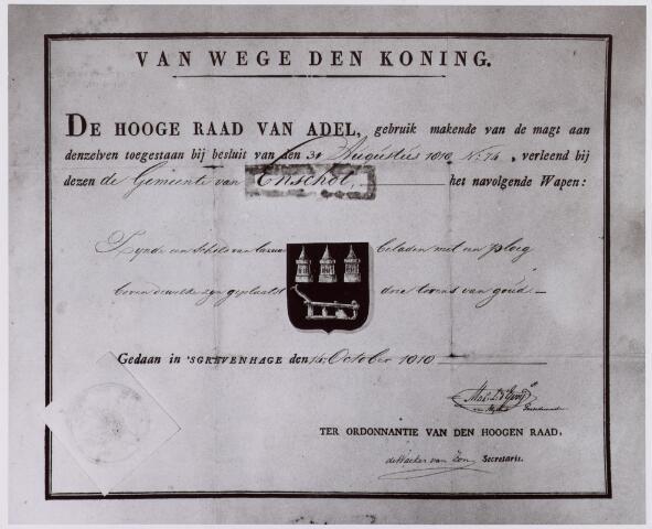 061552 - Het besluit van de hooge raad van adel om Enschot een wapen te verlenen