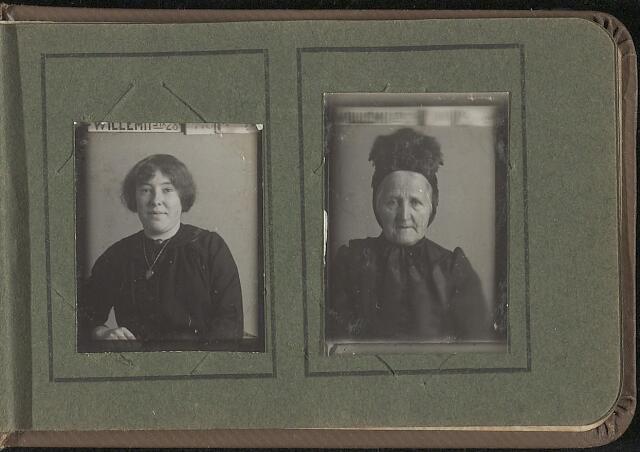 603973 - Albumblad met zogenaamde TipTop-pasfoto´s van het personeel van de gemeentesecretarie van Tilburg, omstreeks 1916.  Beide personen onbekend