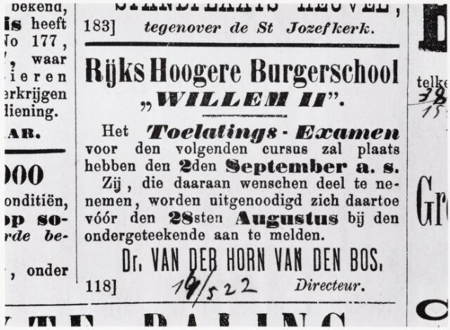 051652 - Onderwijs.  Rijks H.B.S. Willem ll . Advertentie in de Tilburgse Courant van 25 augustus 1889  voor een toelatingsexamen voor de Rijks Hoogere Burgerschool H.B.S. Willem II.