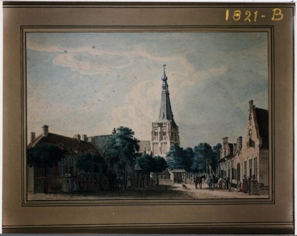027817 - Schilderij. Schilderij Markt, 1742