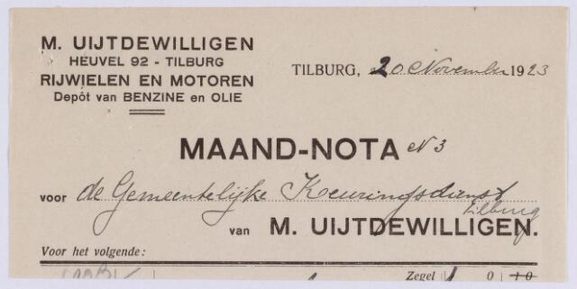 061274 - Briefhoofd. Nota van M. Uijtdewilligen, rijwielen en motoren, Heuvel 92 voor de gemeentelijke keuringsdienst van Tilburg