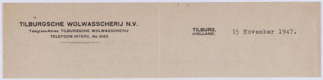061254 - Briefhoofd. Briefhoofd van Tilburgsche Wolwasscherij N.V.