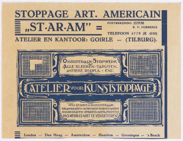 """056325 - Reclamefolder van Stoppage Art. Americain """"ST-AR-AM"""", atelier voor kunststoppage. De folder is in 1927 ontworpen door A. Lejeune. Reclamefolder."""