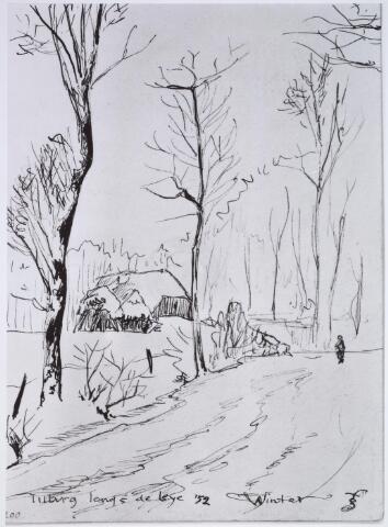 025811 - Tekening. Tekening van H. Corvers van een winters Leijpark