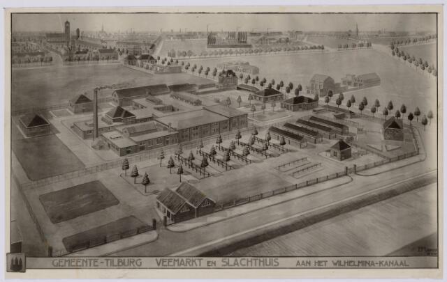 102023 - Ontwerptekening van de gemeentelijk veemarkt en het gemeentelijk slachthuis aan de Enschotsestraat, getekend door P. Ruigvoorn. Op de tekening ook café Abattoir en houtwarenfabriek Kennis.