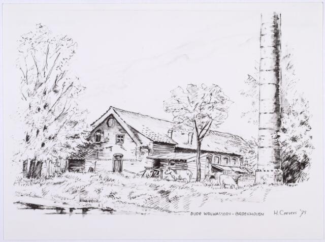 014196 - Tekening. Tekening van H. Corvers uit 1975 van een oude wolwasserij op Broekhoven. Voorheen was in dit complex stoom-, was- en stijkinrichting Het Groenewoud gevestigd