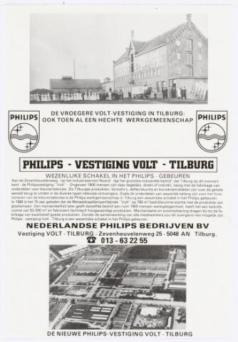 """038644 - Volt. Noord. Zuid. Gebouwen. Volt 75 jaar in 1984. Reclame voor Volt d.m.v. toen en nu. In oktober 1972 werd de aloude N.V. status van Volt omgezet in een B.V. status. Die B.V. status werd opgegeven per 1/2-1979. Volt werd toen ondergebracht bij de hoofdindustriegroep Video van Philips. De oude aandeelhouders (de fam. Verbunt) werden uitgekocht. De naam Volt bleef wel bestaan. In 1984 volgde weer een andere benaming. Volt werd nu ondergebracht bij de Nederlandse Philipsbedrijven B.V. De nieuwe naam werd """"Philips -vestiging Volt-Tilburg"""".  Dit is tot het einde in 1999 zo gebleven. De straat die rechts op ca. 1/3 van de hoogte naar links gaat is de Zeven- heuvelenweg."""