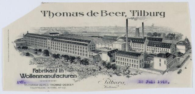 059539 - Briefhoofd. Briefhoofd van Thomas de Beer, Tilburg, Fabrikant in Wollenmanufacturen, Wilhelminapark 5. Rechtsonder de tram die langs de Hasseltse kapel naar Dongen reed.