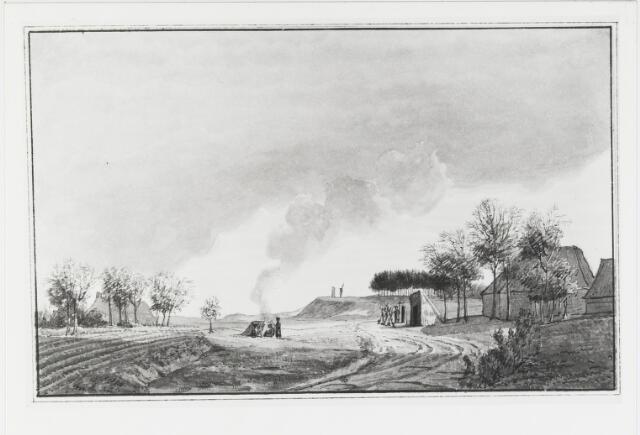 055187 - Tekening door Daniël Gevers van Endegeest in Atlas van Stolk. Grens. De wacht te Baarle (Alphen).