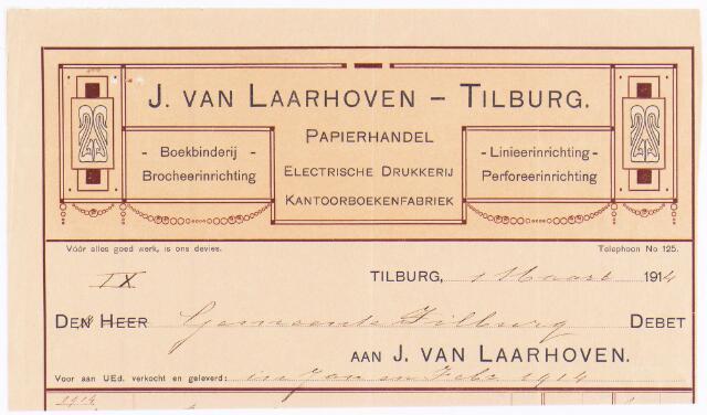 060533 - Briefhoofd. Nota van J van Laarhoven, Electrische drukkerij, kantoorboekenfabriek, boekbinderij en papierhandel, Wilhelminapark 7 voor gemeente Tilburg